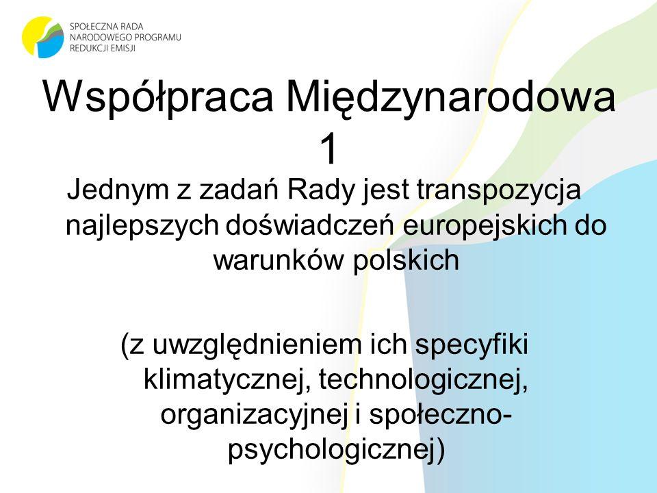 Współpraca Międzynarodowa 1 Jednym z zadań Rady jest transpozycja najlepszych doświadczeń europejskich do warunków polskich (z uwzględnieniem ich specyfiki klimatycznej, technologicznej, organizacyjnej i społeczno- psychologicznej)