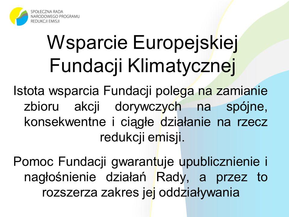 Wsparcie Europejskiej Fundacji Klimatycznej Istota wsparcia Fundacji polega na zamianie zbioru akcji dorywczych na spójne, konsekwentne i ciągłe działanie na rzecz redukcji emisji.