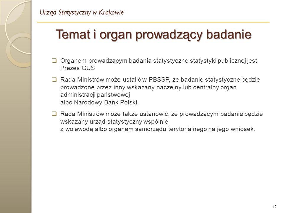 12  Organem prowadzącym badania statystyczne statystyki publicznej jest Prezes GUS  Rada Ministrów może ustalić w PBSSP, że badanie statystyczne będzie prowadzone przez inny wskazany naczelny lub centralny organ administracji państwowej albo Narodowy Bank Polski.