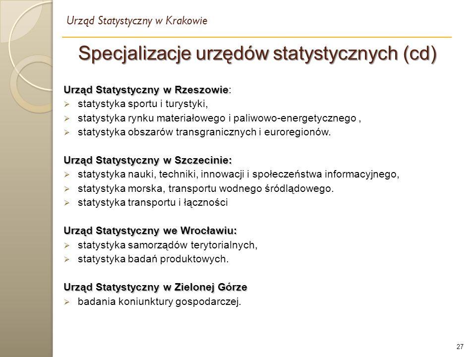 27 Specjalizacje urzędów statystycznych (cd) Urząd Statystyczny w Krakowie Urząd Statystyczny w Rzeszowie Urząd Statystyczny w Rzeszowie:  statystyka sportu i turystyki,  statystyka rynku materiałowego i paliwowo-energetycznego,  statystyka obszarów transgranicznych i euroregionów.