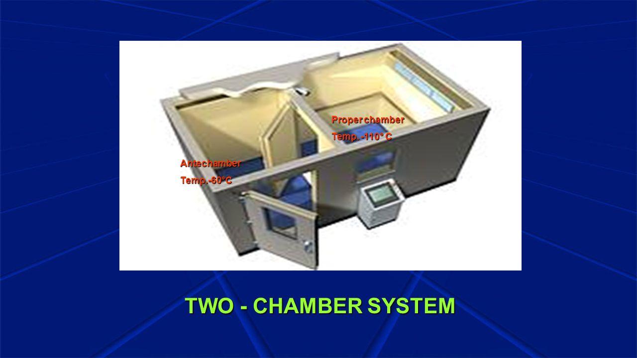 TWO - CHAMBER SYSTEM Antechamber Temp.-60°C Proper chamber Temp. -110° C