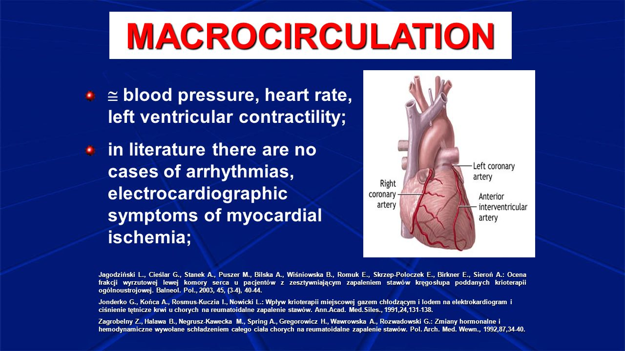 MACROCIRCULATION  blood pressure, heart rate, left ventricular contractility; in literature there are no cases of arrhythmias, electrocardiographic s