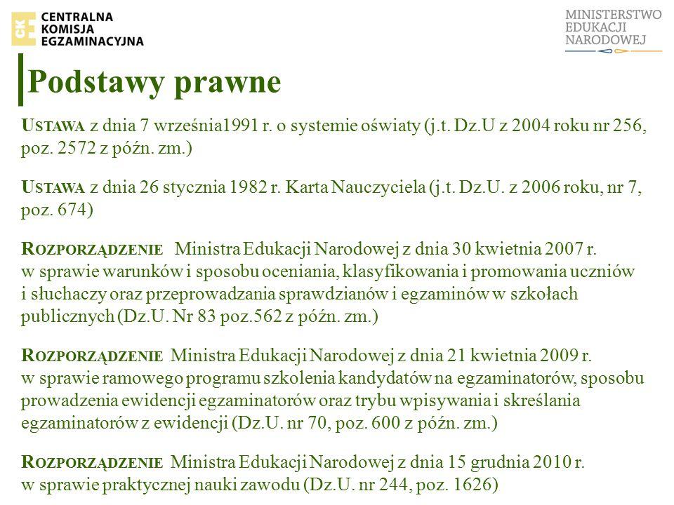 Podstawy prawne U STAWA z dnia 7 września1991 r. o systemie oświaty (j.t.