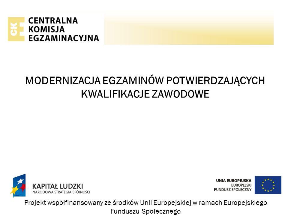 MODERNIZACJA EGZAMINÓW POTWIERDZAJĄCYCH KWALIFIKACJE ZAWODOWE Projekt współfinansowany ze środków Unii Europejskiej w ramach Europejskiego Funduszu Społecznego