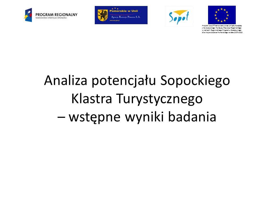 Projekt współfinansowany przez Unię Europejską z Europejskiego Funduszu Rozwoju Regionalnego w ramach Regionalnego Programu Operacyjnego dla Województwa Pomorskiego na lata 2007-2013 Analiza potencjału Sopockiego Klastra Turystycznego – wstępne wyniki badania