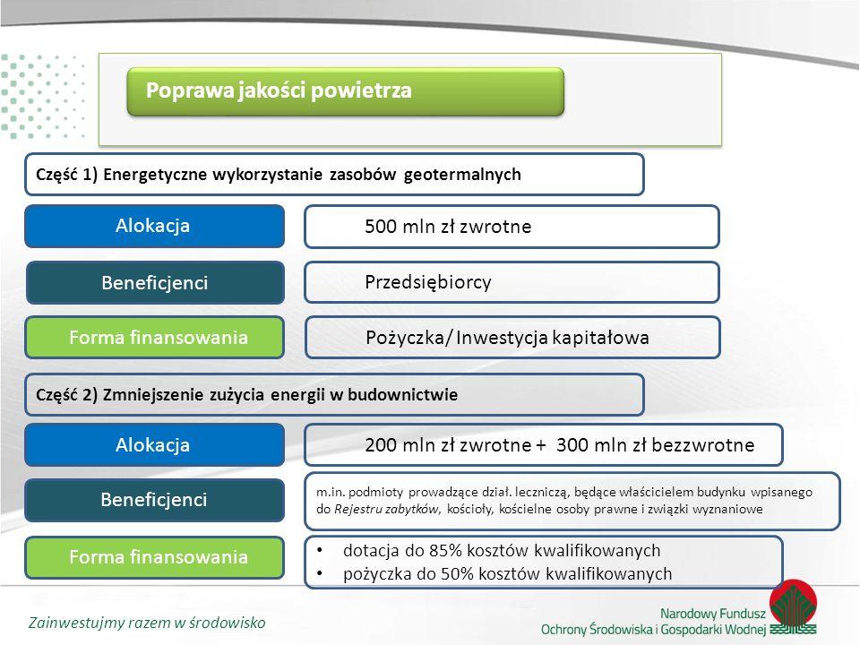 Zainwestujmy razem w środowisko Wsparcie przedsięwzięć w zakresie niskoemisyjnej i zasobooszczędnej gospodarki Cel Celem programu jest zmniejszenie negatywnego oddziaływania przedsięwzięć na środowisko poprzez działania inwestycyjne Alokacja łącznie2 500 mln zł Część 1) E-KUMULATOR – Ekologiczny Akumulator dla Przemysłu Alokacja/ Finansowanie1 000 mln zł zwrotne Przedsiębiorcy Beneficjenci Pożyczka Część 2) Współfinansowanie projektów Programu Operacyjnego Infrastruktura i Środowisko w ramach I osi priorytetowej PO IiŚ 2014-2020 – Zmniejszenie emisyjności gospodarki Alokacja/ Finansowanie500 mln zł zwrotne Pożyczka Część 3) Efektywne systemy ciepłownicze i chłodnicze Alokacja/ Finansowanie1 000 mln zł zwrotne Pożyczka