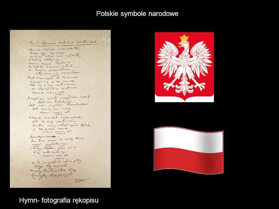 Polskie symbole narodowe Hymn- fotografia rękopisu