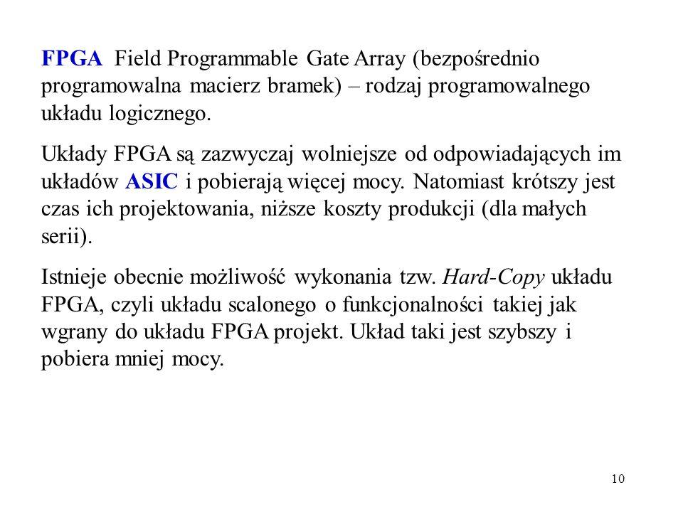 10 FPGA Field Programmable Gate Array (bezpośrednio programowalna macierz bramek) – rodzaj programowalnego układu logicznego. Układy FPGA są zazwyczaj