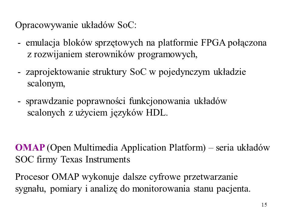 15 Opracowywanie układów SoC: - emulacja bloków sprzętowych na platformie FPGA połączona z rozwijaniem sterowników programowych, - zaprojektowanie struktury SoC w pojedynczym układzie scalonym, - sprawdzanie poprawności funkcjonowania układów scalonych z użyciem języków HDL.