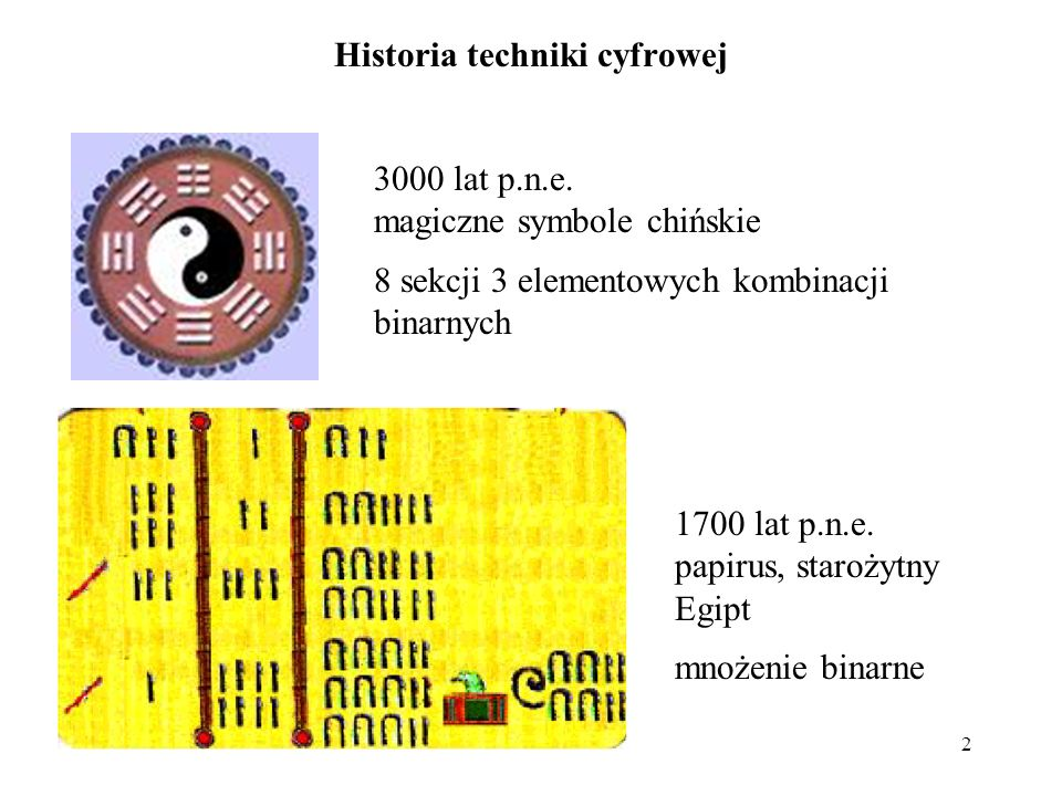 2 Historia techniki cyfrowej 3000 lat p.n.e. magiczne symbole chińskie 8 sekcji 3 elementowych kombinacji binarnych 1700 lat p.n.e. papirus, starożytn