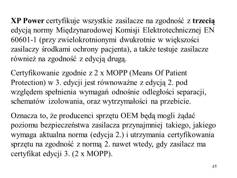 45 XP Power certyfikuje wszystkie zasilacze na zgodność z trzecią edycją normy Międzynarodowej Komisji Elektrotechnicznej EN 60601-1 (przy zwielokrotnionymi dwukrotnie w większości zasilaczy środkami ochrony pacjenta), a także testuje zasilacze również na zgodność z edycją drugą.