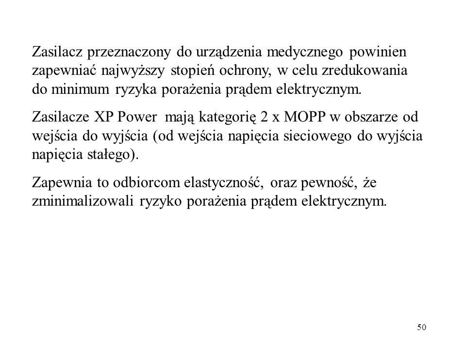 50 Zasilacz przeznaczony do urządzenia medycznego powinien zapewniać najwyższy stopień ochrony, w celu zredukowania do minimum ryzyka porażenia prądem elektrycznym.