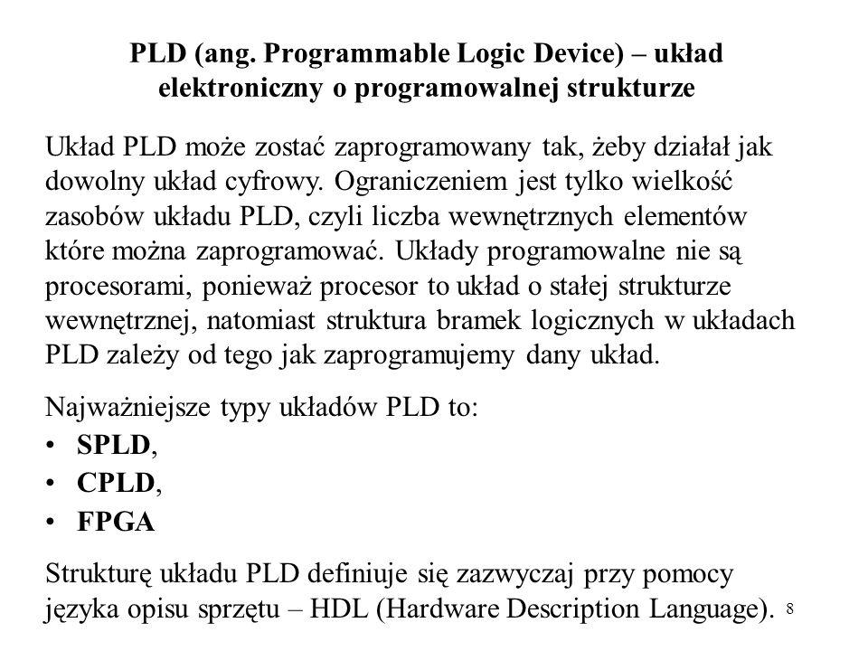 8 PLD (ang. Programmable Logic Device) – układ elektroniczny o programowalnej strukturze Układ PLD może zostać zaprogramowany tak, żeby działał jak do