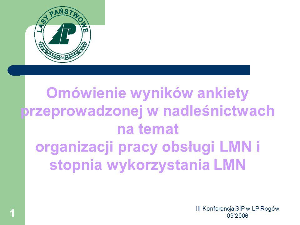 III Konferencja SIP w LP Rogów 09 2006 1 Omówienie wyników ankiety przeprowadzonej w nadleśnictwach na temat organizacji pracy obsługi LMN i stopnia wykorzystania LMN