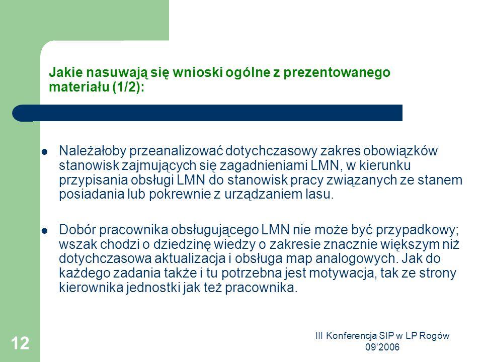 III Konferencja SIP w LP Rogów 09 2006 12 Jakie nasuwają się wnioski ogólne z prezentowanego materiału (1/2): Należałoby przeanalizować dotychczasowy zakres obowiązków stanowisk zajmujących się zagadnieniami LMN, w kierunku przypisania obsługi LMN do stanowisk pracy związanych ze stanem posiadania lub pokrewnie z urządzaniem lasu.