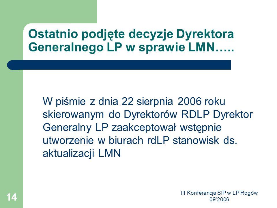 III Konferencja SIP w LP Rogów 09 2006 14 Ostatnio podjęte decyzje Dyrektora Generalnego LP w sprawie LMN…..
