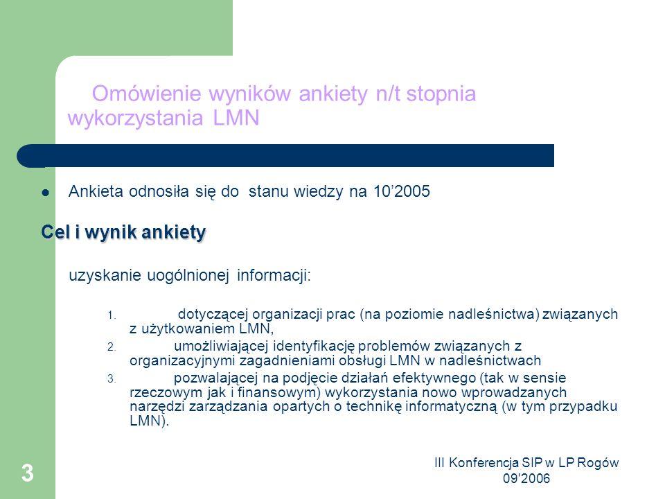 III Konferencja SIP w LP Rogów 09 2006 3 Omówienie wyników ankiety n/t stopnia wykorzystania LMN Ankieta odnosiła się do stanu wiedzy na 10'2005 Cel i wynik ankiety uzyskanie uogólnionej informacji: 1.