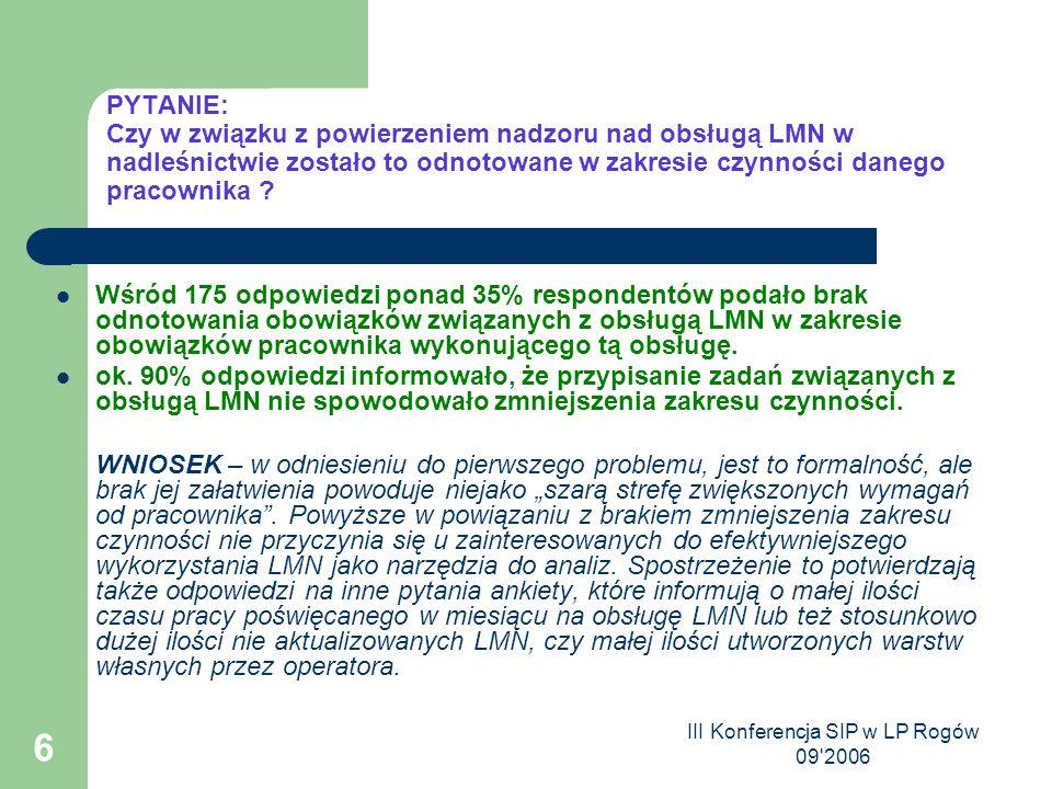 III Konferencja SIP w LP Rogów 09 2006 6 PYTANIE: Czy w związku z powierzeniem nadzoru nad obsługą LMN w nadleśnictwie zostało to odnotowane w zakresie czynności danego pracownika .