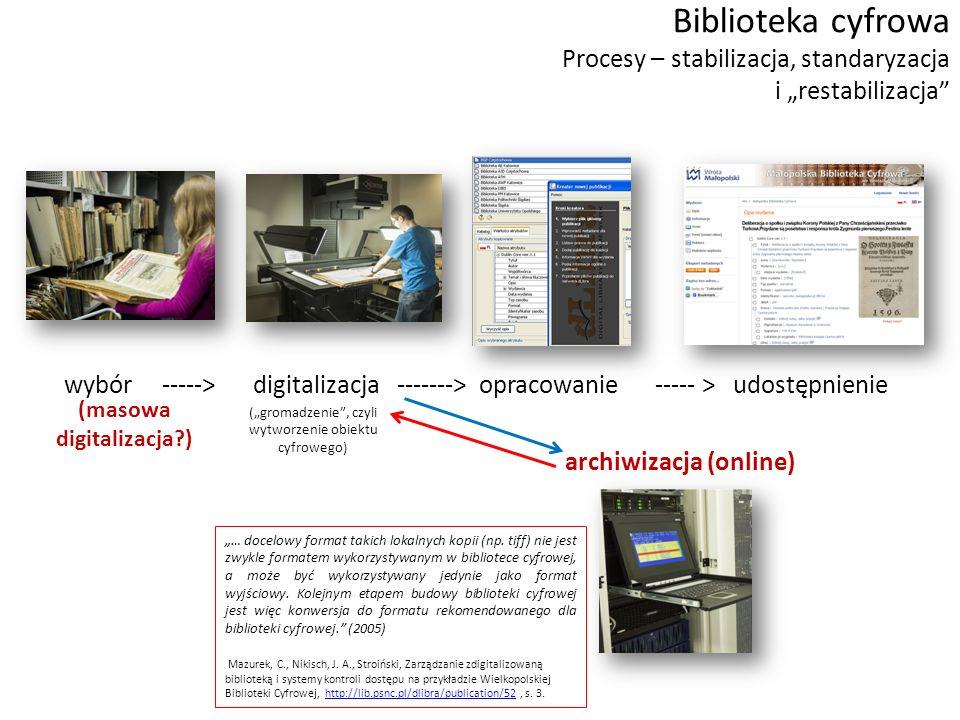 """wybór -----> digitalizacja -------> opracowanie ----- > udostępnienie archiwizacja (online) Biblioteka cyfrowa Procesy – stabilizacja, standaryzacja i """"restabilizacja (""""gromadzenie , czyli wytworzenie obiektu cyfrowego) """"… docelowy format takich lokalnych kopii (np."""