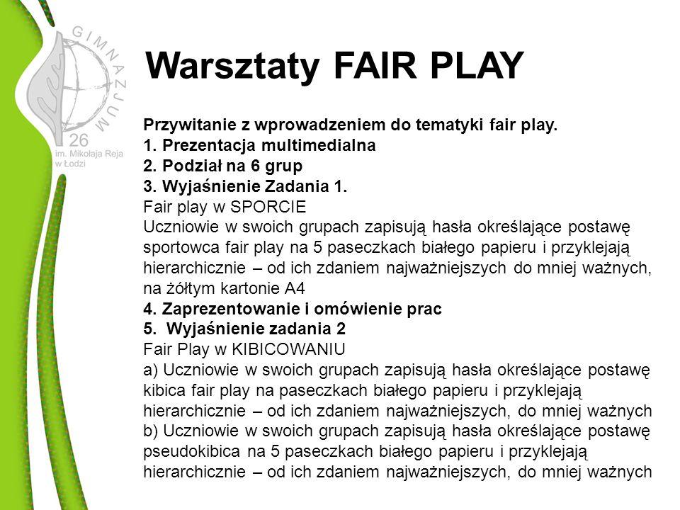Przywitanie z wprowadzeniem do tematyki fair play.