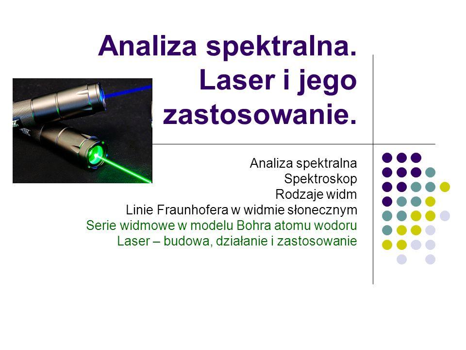 Analiza spektralna. Laser i jego zastosowanie.