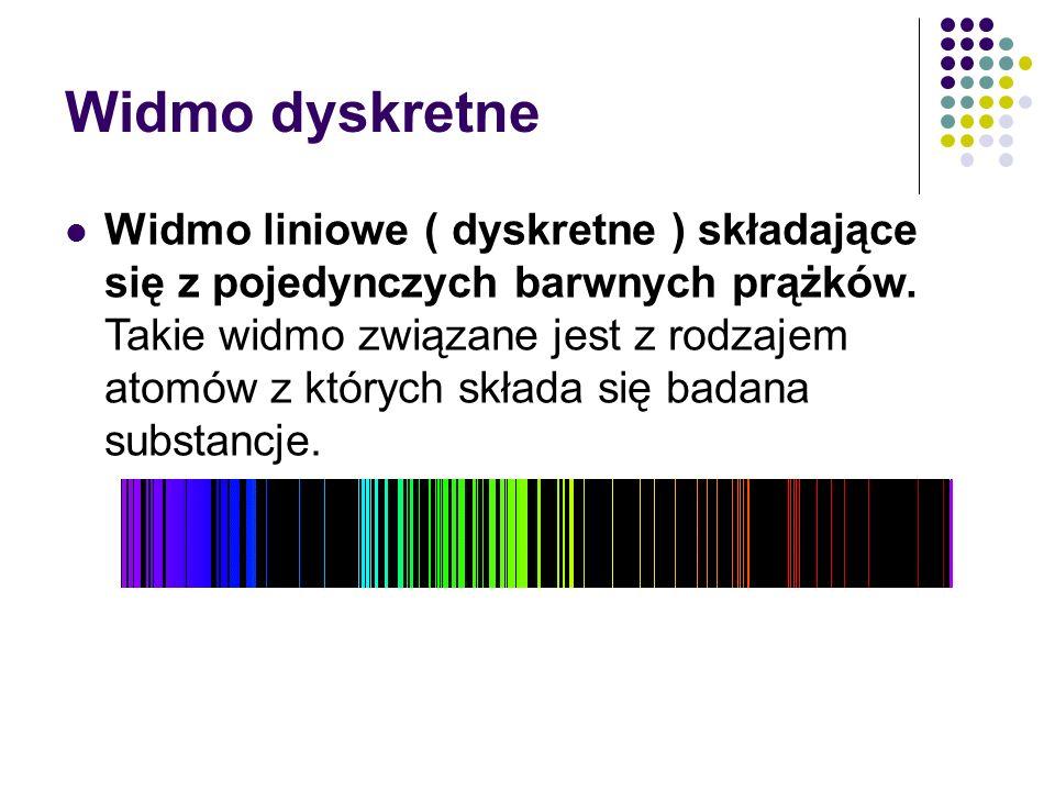 Widmo dyskretne Widmo liniowe ( dyskretne ) składające się z pojedynczych barwnych prążków.