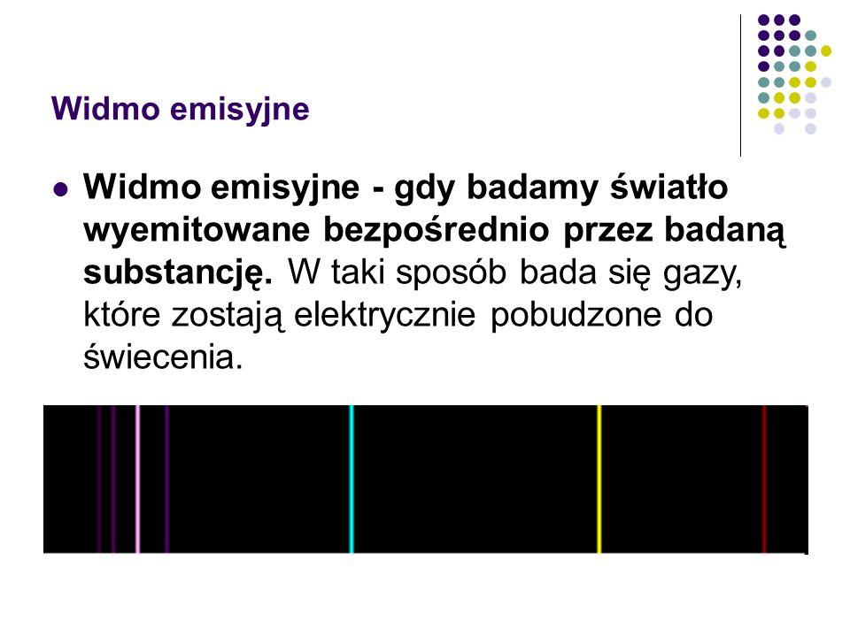 Widmo emisyjne Widmo emisyjne - gdy badamy światło wyemitowane bezpośrednio przez badaną substancję.