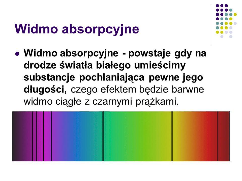 Widmo absorpcyjne Widmo absorpcyjne - powstaje gdy na drodze światła białego umieścimy substancje pochłaniająca pewne jego długości, czego efektem będzie barwne widmo ciągłe z czarnymi prążkami.