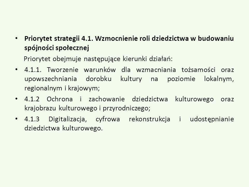 Priorytet strategii 4.1. Wzmocnienie roli dziedzictwa w budowaniu spójności społecznej Priorytet obejmuje następujące kierunki działań: 4.1.1. Tworzen