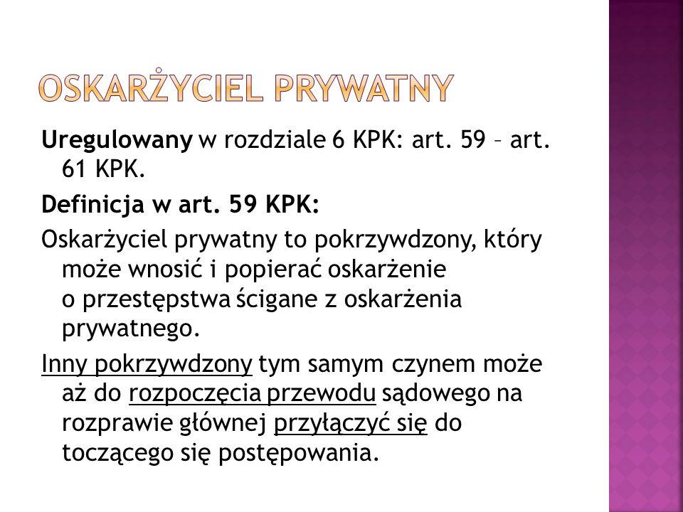 Uregulowany w rozdziale 6 KPK: art. 59 – art. 61 KPK.