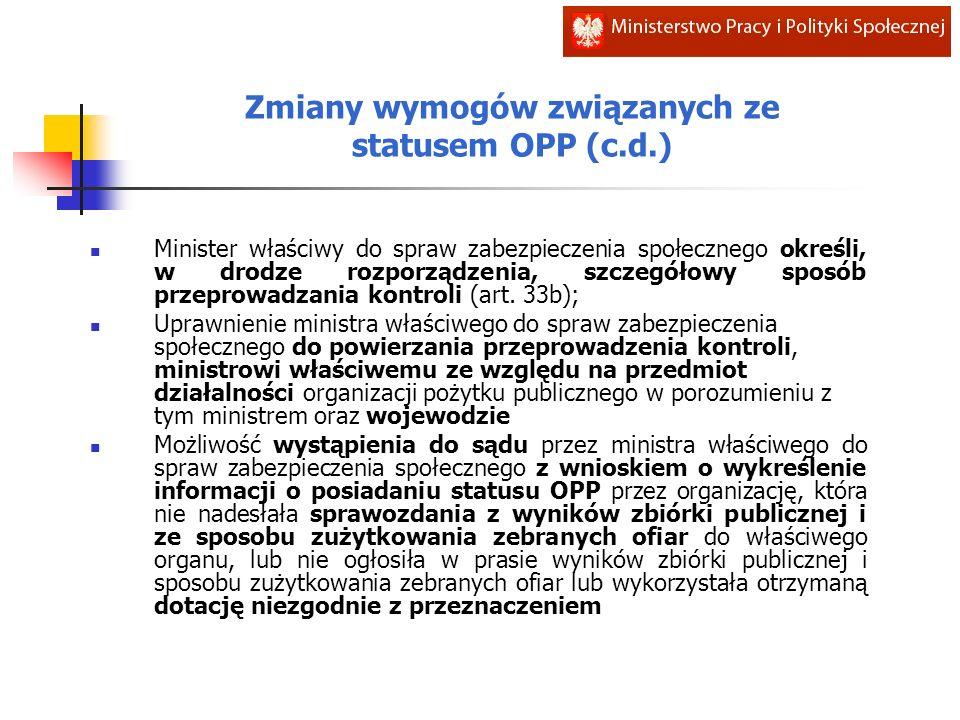 Zmiany wymogów związanych ze statusem OPP (c.d.) Minister właściwy do spraw zabezpieczenia społecznego określi, w drodze rozporządzenia, szczegółowy sposób przeprowadzania kontroli (art.