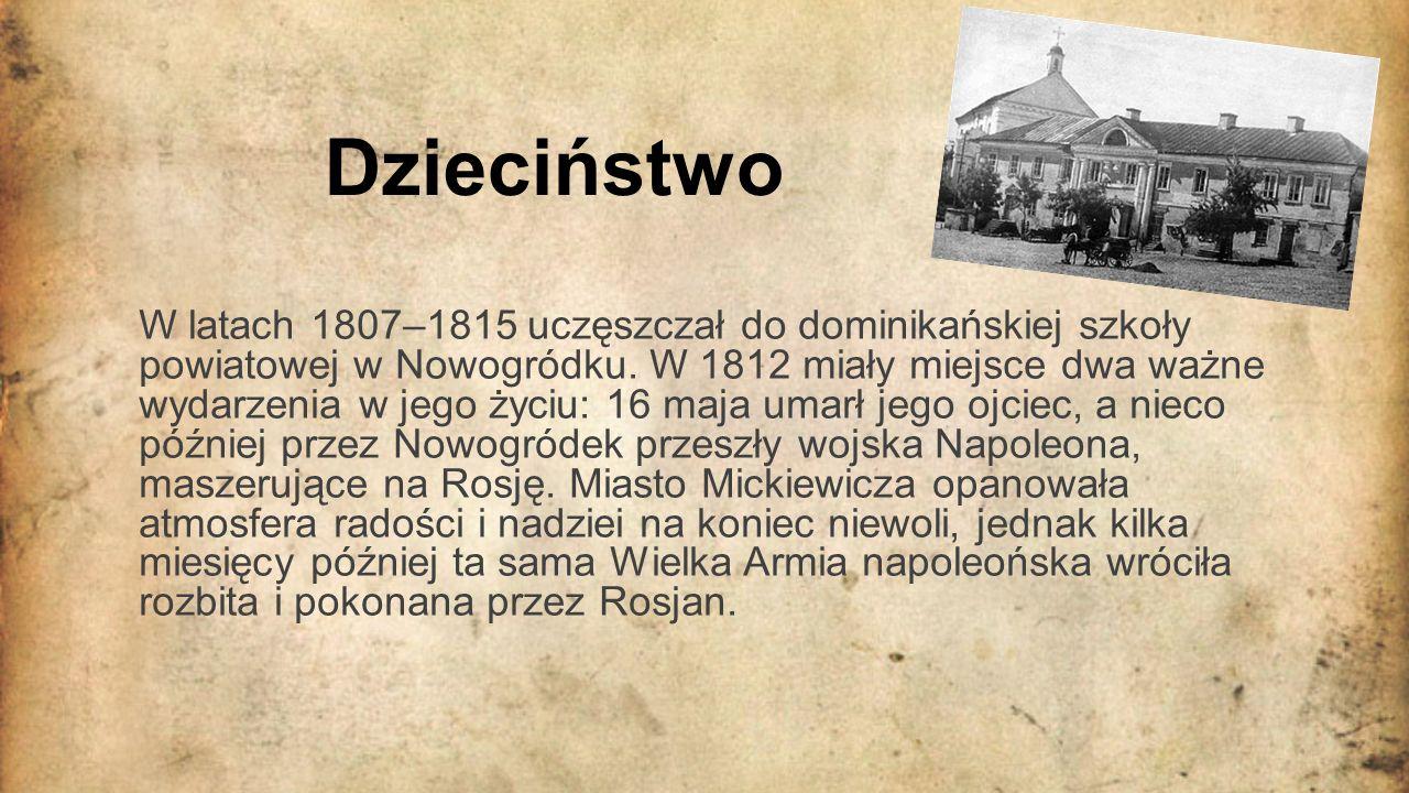 Studia W 1815 Mickiewicz wyjechał do Wilna w celu podjęcia studiów.