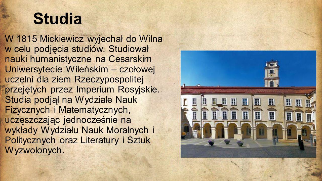 Więzienie, zesłanie i emigracja W 1819 rozpoczął pracę jako nauczyciel w Kownie, gdzie mieszkał do 1823 roku.