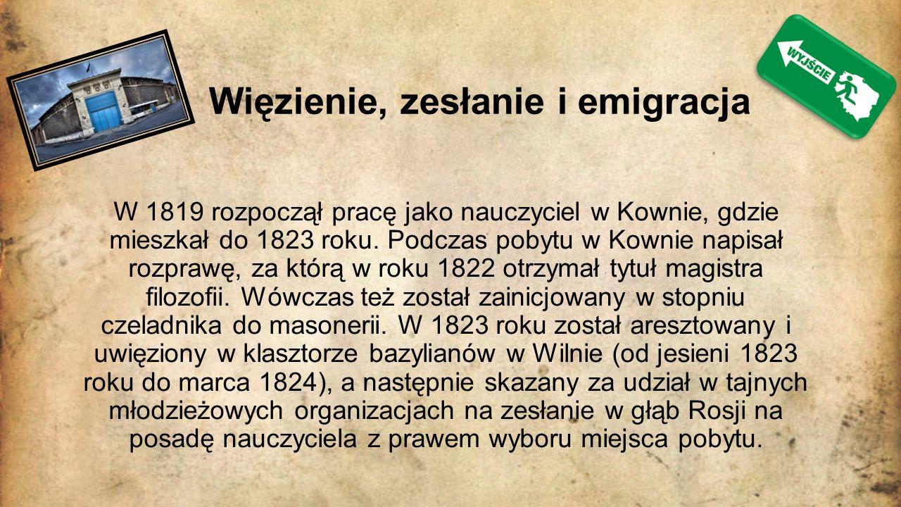 Podróże poety Mickiewicz podróżował po Europie – początkowo w 1829 roku udał się do Niemiec, potem do Włoch i Szwajcarii.