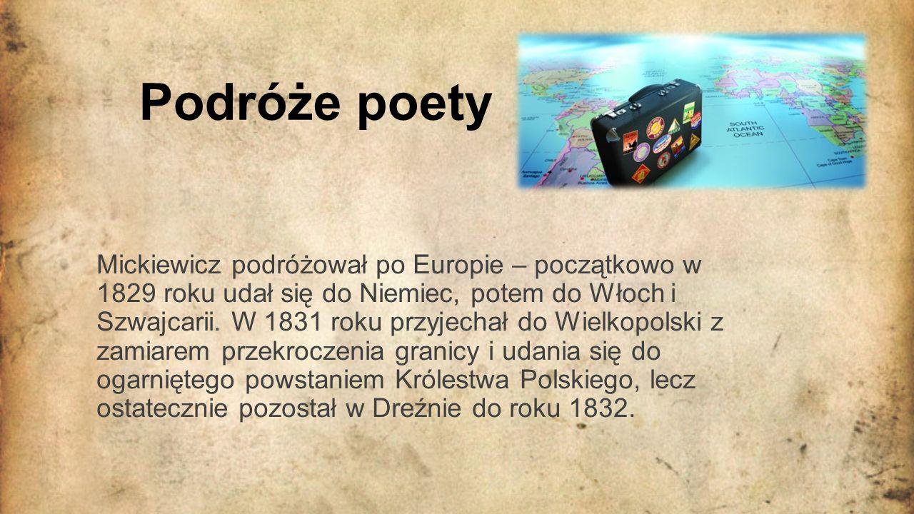 Paryż- pobyt Mickiewicza Z Drezna udał się do Paryża, gdzie osiadł na stałe i spędził ponad 20 lat życia.