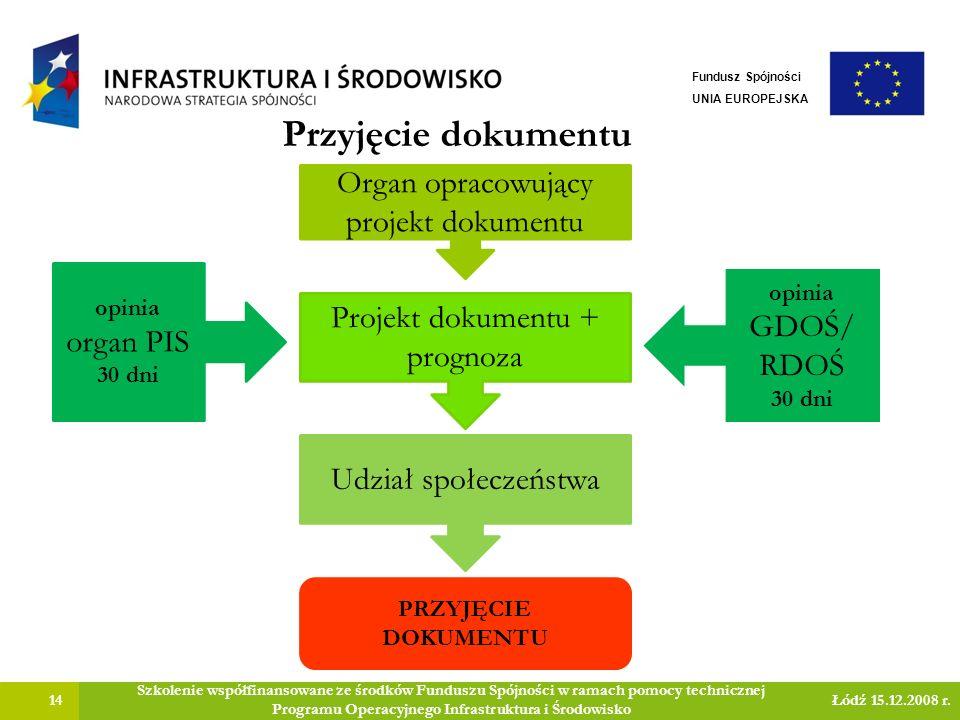 Przyjęcie dokumentu 14 Szkolenie współfinansowane ze środków Funduszu Spójności w ramach pomocy technicznej Programu Operacyjnego Infrastruktura i Środowisko Łódź 15.12.2008 r.
