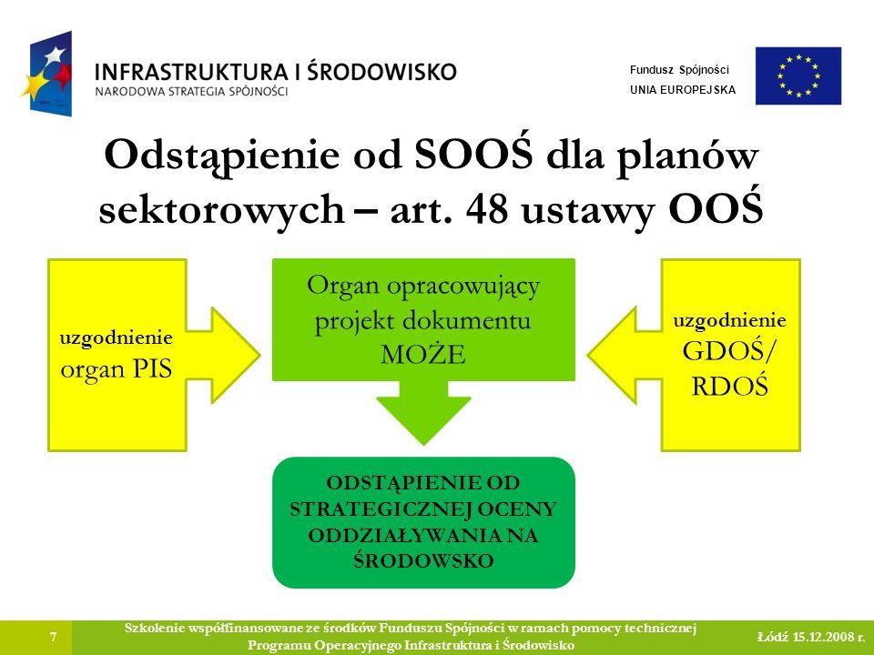 Odstąpienie od SOOŚ dla planów sektorowych – art.