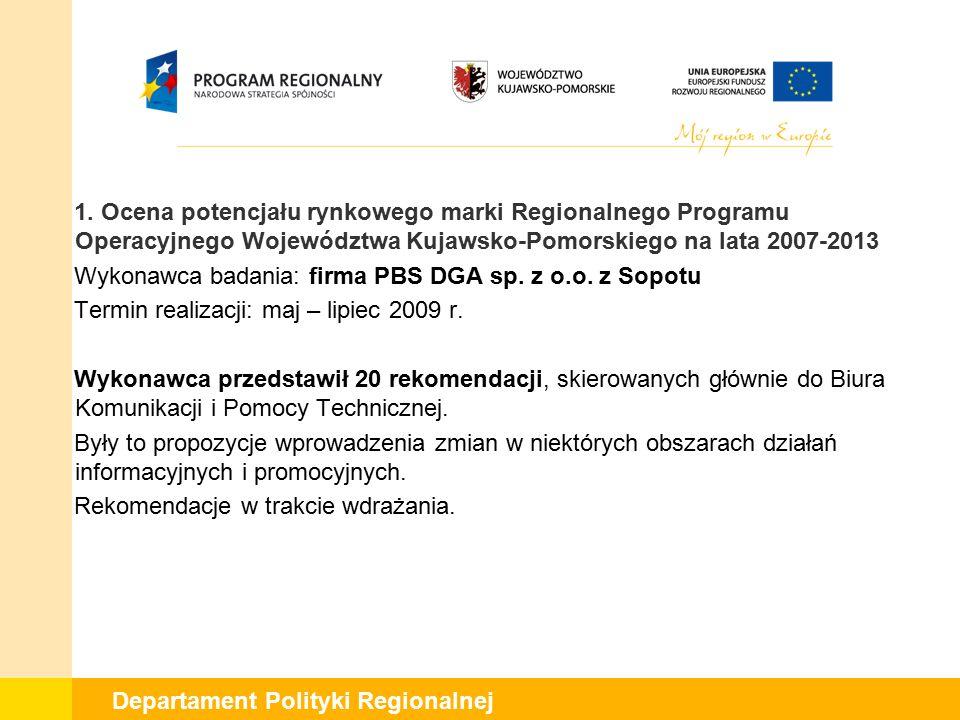 1. Ocena potencjału rynkowego marki Regionalnego Programu Operacyjnego Województwa Kujawsko-Pomorskiego na lata 2007-2013 Wykonawca badania: firma PBS