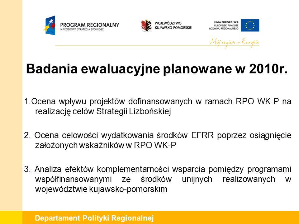 Badania ewaluacyjne planowane w 2010r.