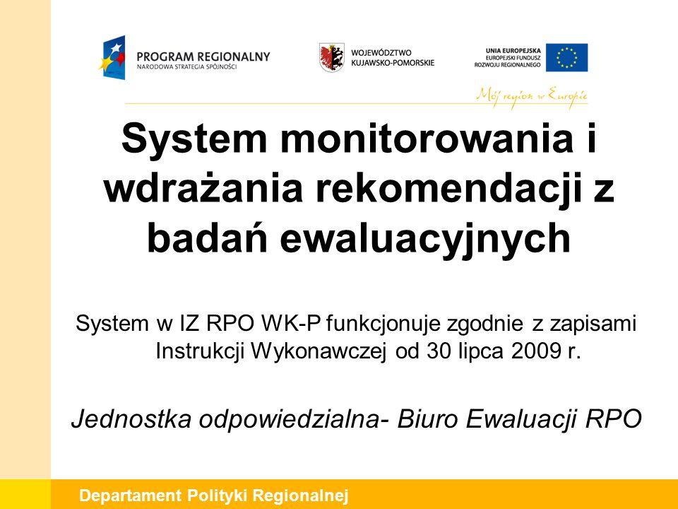 Departament Polityki Regionalnej System monitorowania i wdrażania rekomendacji z badań ewaluacyjnych System w IZ RPO WK-P funkcjonuje zgodnie z zapisami Instrukcji Wykonawczej od 30 lipca 2009 r.