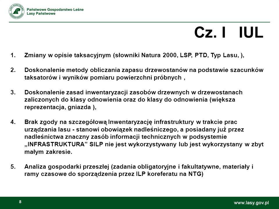 8 Cz. I IUL 1.Zmiany w opisie taksacyjnym (słowniki Natura 2000, LSP, PTD, Typ Lasu, ), 2.Doskonalenie metody obliczania zapasu drzewostanów na podsta