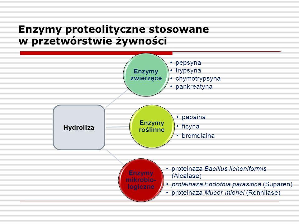 Enzymy proteolityczne stosowane w przetwórstwie żywności proteinaza Bacillus licheniformis (Alcalase) proteinaza Endothia parasitica (Suparen) protein