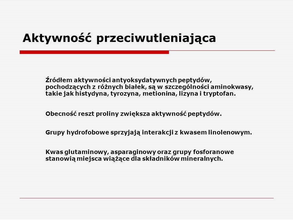 Aktywność przeciwutleniająca Źródłem aktywności antyoksydatywnych peptydów, pochodzących z różnych białek, są w szczególności aminokwasy, takie jak hi