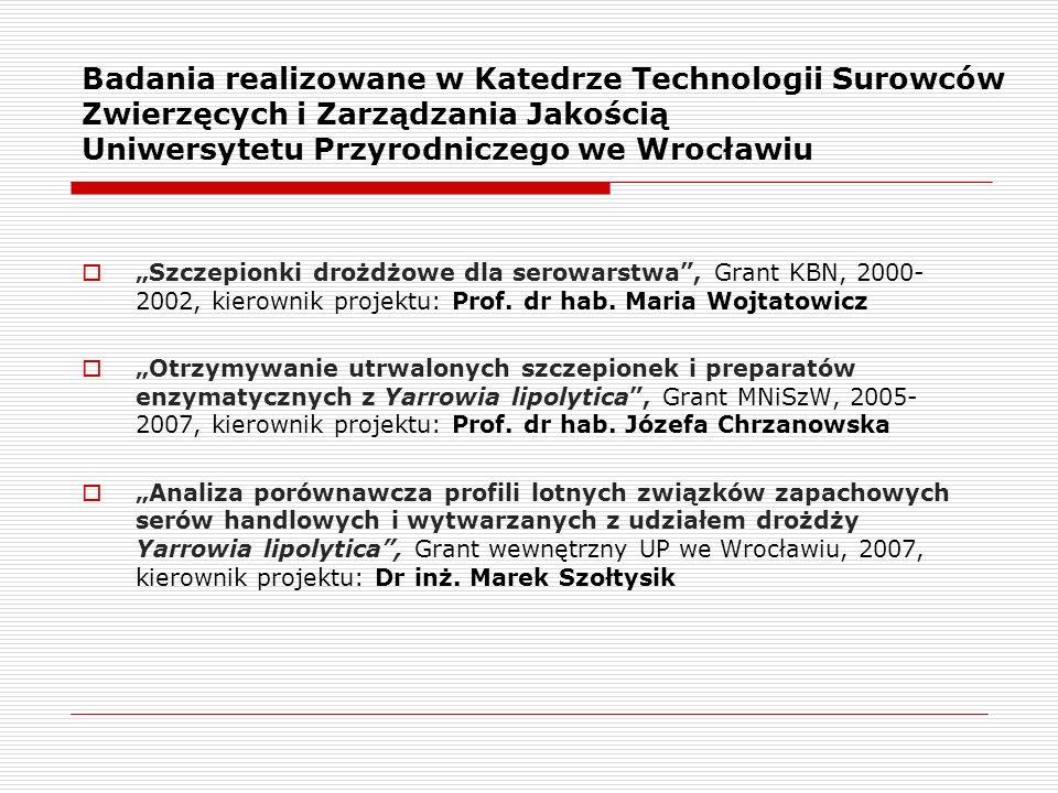 """Badania realizowane w Katedrze Technologii Surowców Zwierzęcych i Zarządzania Jakością Uniwersytetu Przyrodniczego we Wrocławiu  """"Szczepionki drożdżo"""