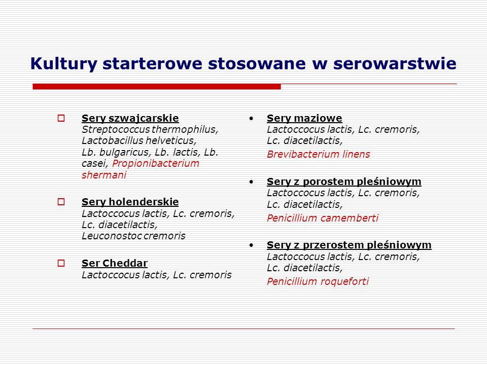 Kultury starterowe stosowane w serowarstwie  Sery szwajcarskie Streptococcus thermophilus, Lactobacillus helveticus, Lb. bulgaricus, Lb. lactis, Lb.