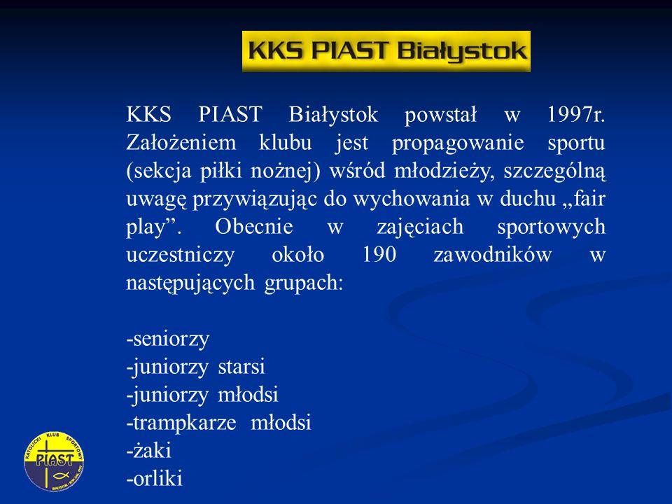 KKS PIAST Białystok powstał w 1997r. Założeniem klubu jest propagowanie sportu (sekcja piłki nożnej) wśród młodzieży, szczególną uwagę przywiązując do