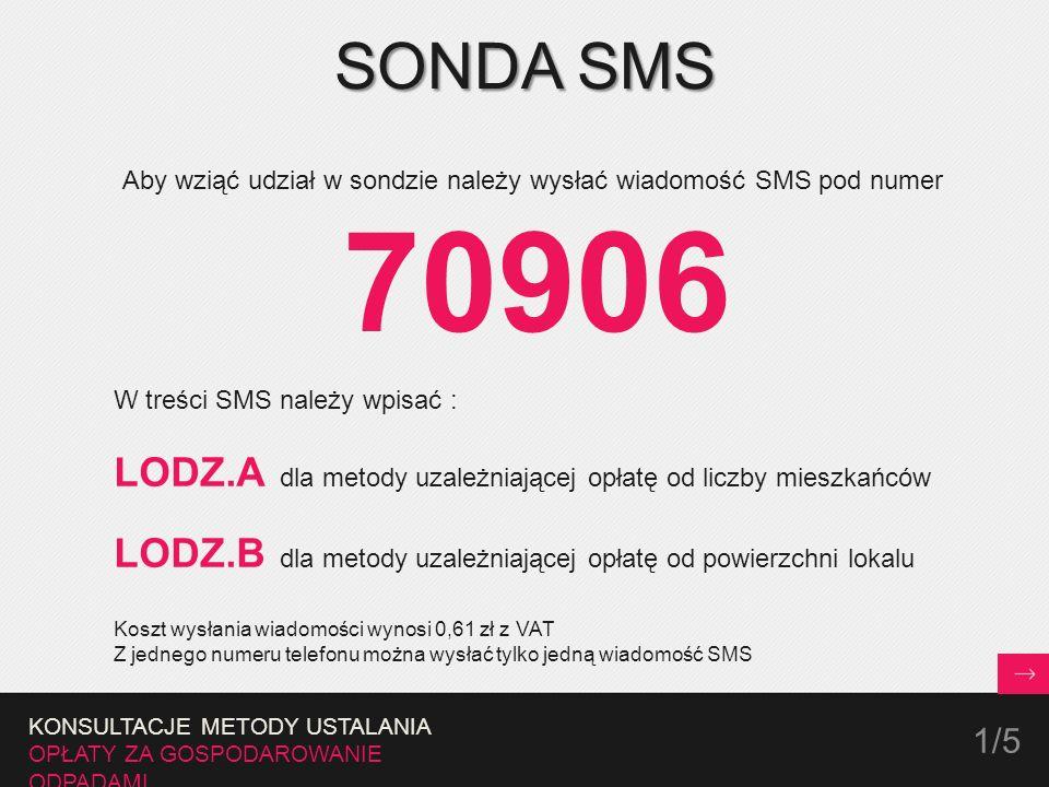 SONDA SMS Aby wziąć udział w sondzie należy wysłać wiadomość SMS pod numer 70906 W treści SMS należy wpisać : LODZ.A dla metody uzależniającej opłatę od liczby mieszkańców LODZ.B dla metody uzależniającej opłatę od powierzchni lokalu Koszt wysłania wiadomości wynosi 0,61 zł z VAT Z jednego numeru telefonu można wysłać tylko jedną wiadomość SMS KONSULTACJE METODY USTALANIA OPŁATY ZA GOSPODAROWANIE ODPADAMI 1/5