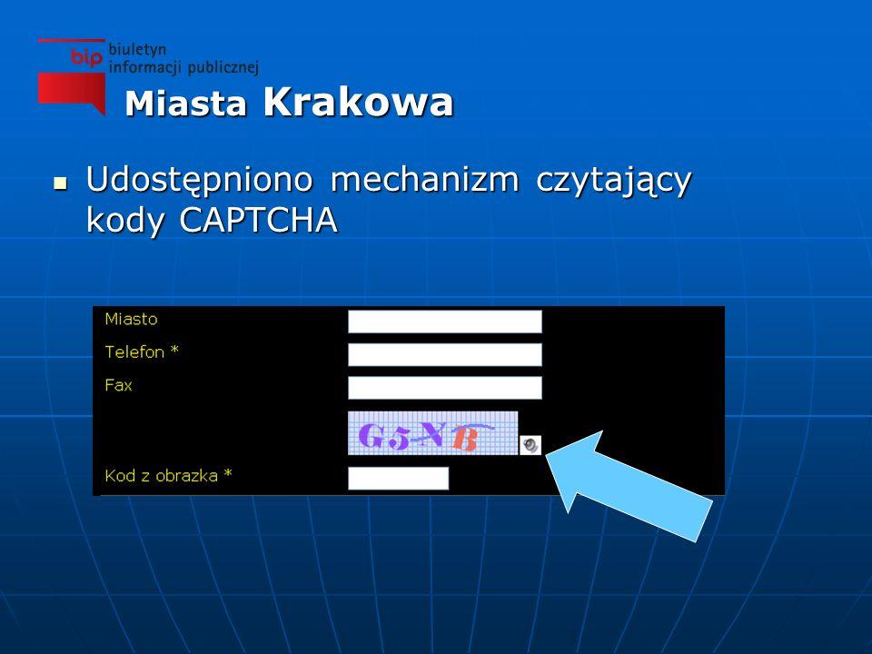 Udostępniono mechanizm czytający kody CAPTCHA Udostępniono mechanizm czytający kody CAPTCHA Miasta Krakowa