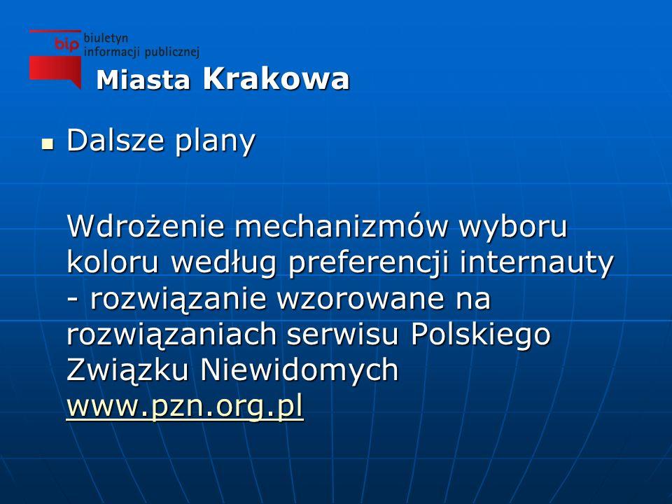 Dalsze plany Dalsze plany Wdrożenie mechanizmów wyboru koloru według preferencji internauty - rozwiązanie wzorowane na rozwiązaniach serwisu Polskiego Związku Niewidomych www.pzn.org.pl www.pzn.org.pl Miasta Krakowa