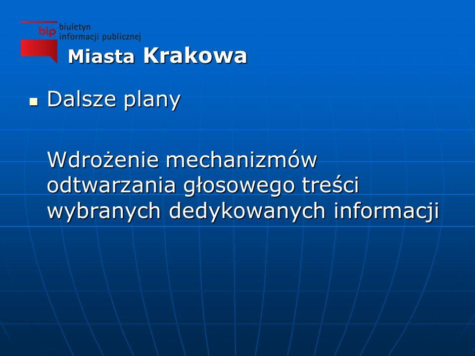 Dalsze plany Dalsze plany Wdrożenie mechanizmów odtwarzania głosowego treści wybranych dedykowanych informacji Miasta Krakowa